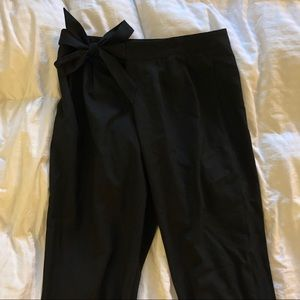 Black Zara Tie High Waisted Trousers Small